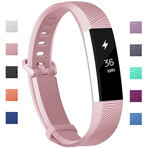 Fundro Compatible Fitbit Alta HR Bands, Newest Sport Replacement Wristbands Secure Metal Buckle Fitbit Alta HR/Fitbit Alta (C# 1-Pack Pink, Small (6.2-7.1))