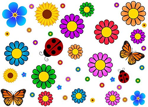 44 Piece Flower Power Vehicle Vibrant Decal Set 60's Flower Car Kit Sticker Accessories or Laptop Classic Vinyl Stickers