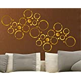 Wall1ders - 40 Rings Seven Size Golden 3D Acrylic Stickers, 3D Acrylic Mirror Wall Stickers for Living Room, Hall, Bed…