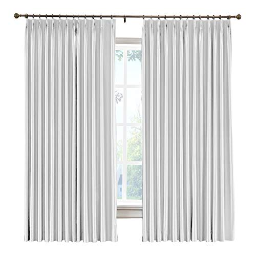 cololeaf Vintage Textured Faux Dupioni Silk Curtain Pinch Pleat for Traverse Rod Or Track, Living Room Bedroom Meetingroom Club Theater Patio Door,Egg White 100W x 84L Inch (1 panel) (Striped Curtains Dupioni Silk)