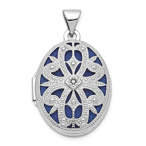 (14k White Gold 21mm Oval Diamond Vintage Photo Pendant Charm Locket Chain Necklace That Holds Pictures Fine Jewelry Gifts For Women For Her)