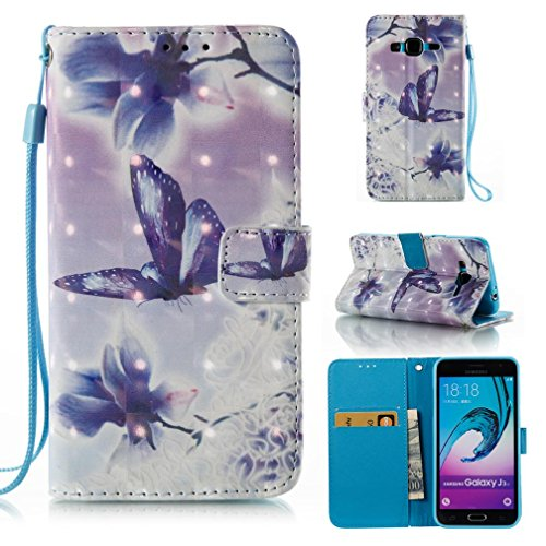 Shell Leather Synthetic (Galaxy J3/J310 case,FlREFlSH Detachable 3D Painted Slim Case Synthetic Leather Shell Anti-Scratch Shockproof Case Folio Flip Cover Wallet Credit Card Holder for Samsung Galaxy J3/J310-Butterfly)