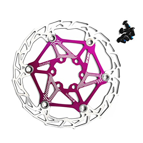 Light Disc Rotor - zeker Gymforward Ultra Light 160mm Floating Disc Brake Rotor with 6 Bolts Mountain Bike Cycling Rotor (Purple)