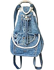 BDJ Drawstring Denim Backpack Daypack Handbag