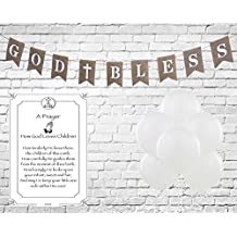 God Bless Burlap Banner for Girl, Boy First Holy Communion, Christening, Baptism Banner, Catholic Decorations - Reusable 8X6 Banner | White letters White Cross with 6 Pearlish White Balloons & Strings