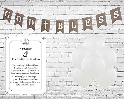 God Bless Baptism Burlap Banner for Girl, Boy First Holy Communion, Christening, Baptism, Catholic Decorations - Reusable 8X6 Banner White letters White Cross with 6 Pearlish White Balloons & (Banner For Baptism Party)