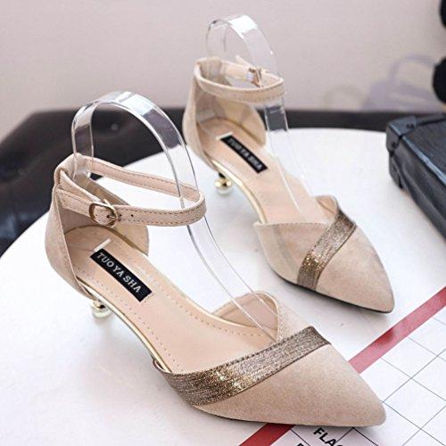 Aiguilles JITIAN Cheville Chaussure Sandales Élégant Beige Bout Escarpin Bride Talons Petits Pointu Femmes w4Uq14