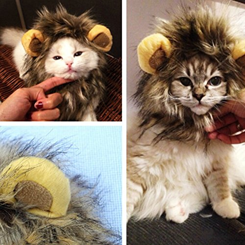 GZQ Pet Costume Lion Mane Wig for Dog Cat Halloween Dress Hat
