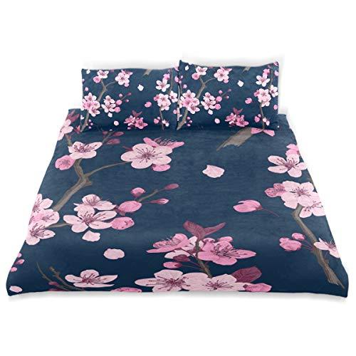 KVMV Sakura Pattern Pink Cherry Blossom Duvet Cover Set Design Bedding Decoration Twin XL 3 PC Sets 1 Duvets Covers with 2 Pillowcase Microfiber Bedding Set Bedroom Decor Accessories