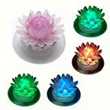 Obell Solar Floating Lights Outdoor Waterproof LED Color Changing Garden lights Floating Pool Pond Lights Decoration (Louts-4pcs)