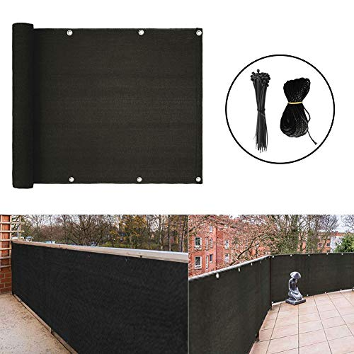 zimo Balcony Privacy Screen Cover UV Protection Weather-Resistant Low Visibility Balcony Shield Cover with Cable Ties & Ropes - Black (3'x16.4')