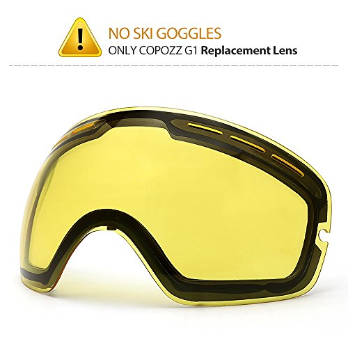 COPOZZ G1 Ski Goggle Clear Graced Yellow Lens - No Goggles Only Replacement Lens Double Lens Anti-fog - VLT - Replacement Lenses