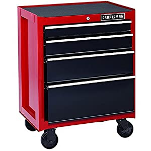 Craftsman 26-Inch 4-Drawer Rolling Cabinet - Red