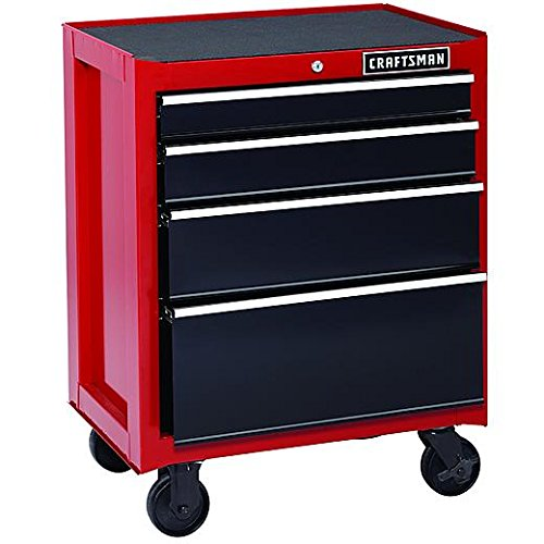 Craftsman 26-Inch 4-Drawer Rolling Cabinet - Red (4 Drawer Chest Cabinet)
