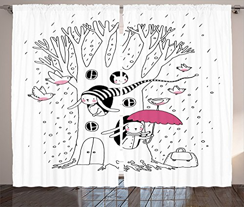 [Magic Home Decor Curtains Minimalist Habitat Drawing with Rabbits Tree Hole Houses in A Rainy Day Hollow Design Living Room Bedroom Decor 2 Panel Set White Pink,Size:2 x 54