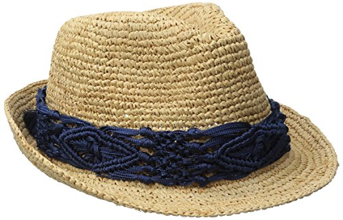 Physician Endorsed Women's Malia Crochet Raffia Sun Hat with Macrame Trim, Rated UPF 30 for Sun Protection, Navy, One Size