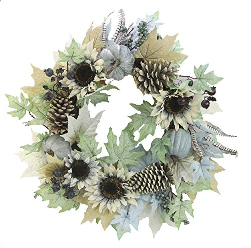 Admired By Nature 24 Inch Rustic Sunflower, Pumpkin Wreath,]()