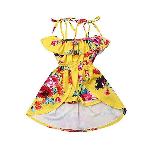 Toddler Kids Baby Girl Off Shoulder Vintage Floral Dress Princess Dress Halter Ruffle Sleeve Holiday Skirts for Kids (Yellow, 3-4 Years)