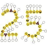 Emoji Party Favor Gift Keychains, 25 Emoji Key Chains for Kids, Key Ring Holder for Girls and Boys Prize