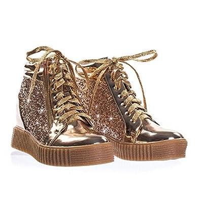 Forever Link Women's Glitter Fashion Sneakers (7.5, Rose Gold Regan-14)