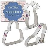Ann Clark Cookie Cutters 3-Piece Lades Dress Up Cookie Cutter Set with Recipe Booklet, Platform Shoe, Purse, Little Black Dress