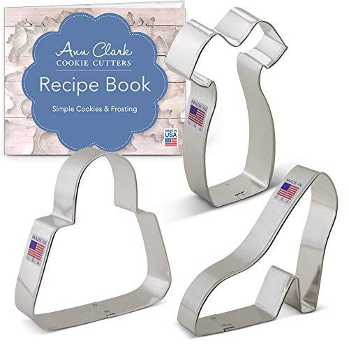 Ladies Dress Up Cookie Cutter Set with Recipe Booklet - 3 piece - Platform Shoe, Purse, Little Black Dress - Ann Clark - USA Made Steel]()