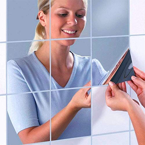 16 Pack Silver Lot Mirror Stickers Adhesive Mirrored Tiles, Wall Mirror for Bathroom Stick On Tiles Mirror, Bedroom Wallpaper Paste Art Mirrored Mosaic Stickers for Walls Crafting. (1mm, 15x15 ()