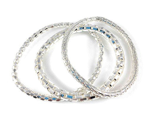 Sterling Silver Mesh Bracelet (Mesh Chain Stretch Multilayer Bangle 925 Sterling Silver Filled for Women Girls Men (SET-2-SILVER))