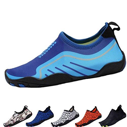 DEMANGO Yoga Schuhe Barfuß Quick-Dry Wassersport Aqua Schuhe Schwimmen Walking Lake Beach S-blau