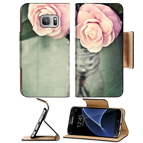 Liili Premium Samsung Galaxy S7 Flip Pu Leather Wallet Case Two Pink Perfection Camellias in an antique medicine bottle Photo Photo 12554729 Simple Snap Carrying (Camellia Vase)