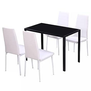 vidaXL Conjunto de Comedor 5 Piezas Blanco y Negro Mesa Sillas Muebles Cocina
