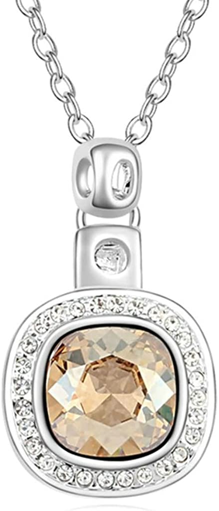 Daesar Gold Plated Womens Square Cubic Zirconia Pendant Necklace for Women