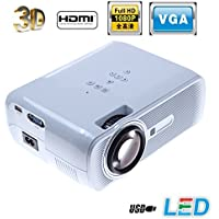 LightInTheBox 3000lumens 3d Smart Projector HD 1080p Home Entertainment Movie HDMI VGA TV USB Color=White