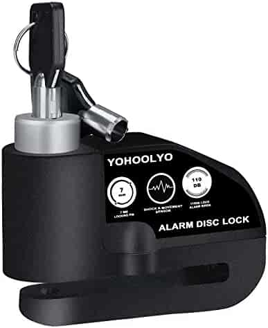 YOHOOLYO Disc Lock Alarm Motorcycle Alarm Padlock with 110db Alarm Sound for Motorcycles Bicycles