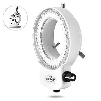 Schwarz Mikroskop Kamera Lampe 144 LED Perlen Licht Ringlicht Illuminator /Über 18000LUX 4.5W Quellenhelligkeit Einstellbare Schattenfrei Beleuchtung Ringleuchte