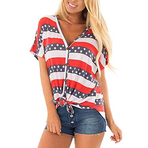 (Tops for Women Casual,Nuewofally V-Neck Flag Button Down Print T Shirts with Tie Front Blouses Summer)