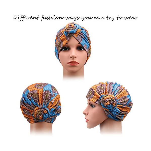 SATINIOR 4 Pieces African Pattern Headwrap Pre-Tied Bonnet Turban Knot Beanie Cap Headwrap Hat