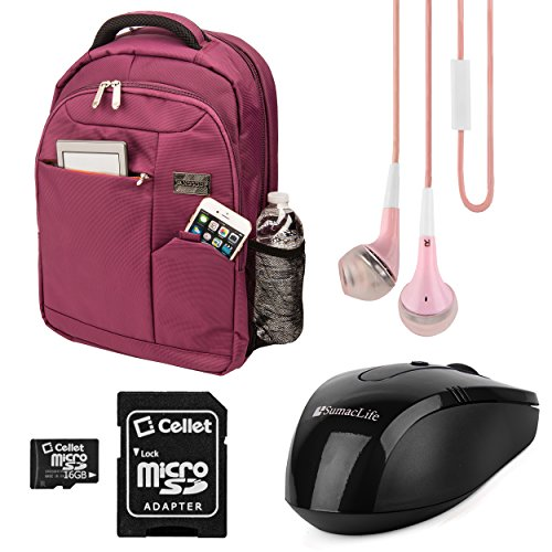 """Plum Purple Germeni Backpack Carrying Case Sleeve for Lenovo 13.3 to 15.6"""" Laptops + Green Headphones + 16GB Memory Card + USB Mouse"""