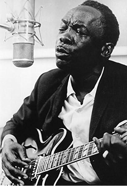 Black American John Hooker Guitar Music Wall Picture Cherry Framed Art Print