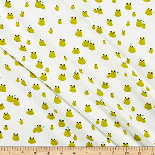 - Cotton + Steel Front Yard Jersey Knit Frogs Fabric, Cream, Fabric By The Yard