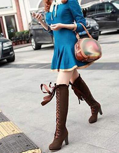 Stivali Stivali Stivali Impermeabile heeled Piattaforma MYXUA Donna Da Brown High dvwdHCq