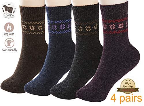 (Pack of 4 Winter Warm Wool Socks Sports Socks Hiking Knit Crew Socks for)