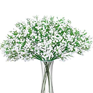 Bomarolan Artificial Baby Breath Flowers Fake Gypsophila Bouquets 12 Pcs Fake Real Touch Flowers for Wedding Decor DIY Home Party(White) 17