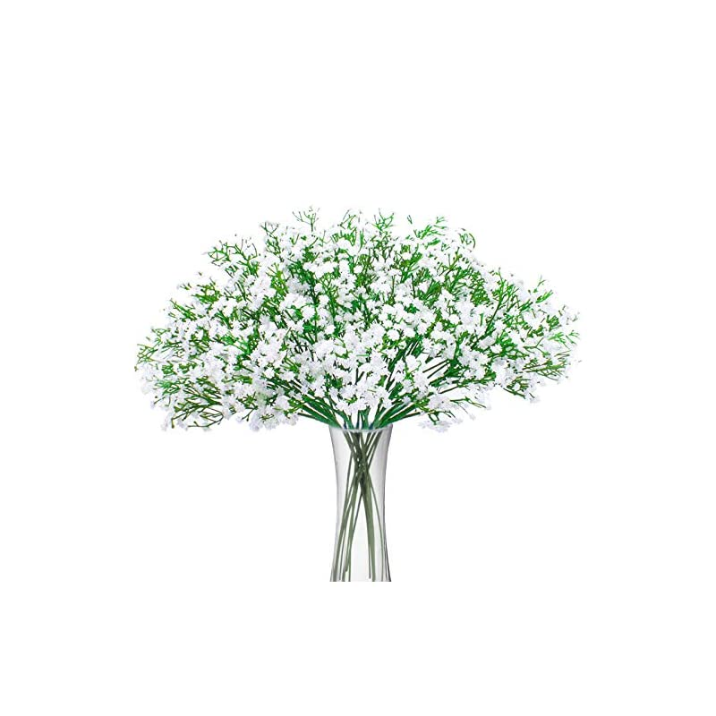 silk flower arrangements bomarolan artificial baby breath flowers fake gypsophila bouquets 12 pcs fake real touch flowers for wedding decor diy home party (white)