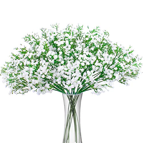 Bud Vase Ivory - Bomarolan Artificial Baby Breath Flowers Fake Gypsophila Bouquets 12 Pcs Fake Real Touch Flowers for Wedding Decor DIY Home Party(White)