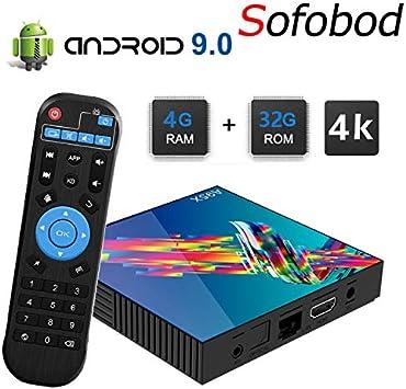 Sofobod A95X R3 Smart TV Box Android 9.0 4GB RAM+32GB ROM RK3318 Quad-Core 4K HD Set Top Box H.265 Decoding 2.4G/5G Dual WiFi BT4.0 TV Box: Amazon.es: Electrónica