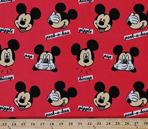 - Mickey Faces Mickey Mouse Giggle Peek-A-Boo Hiccup Words Red Kids Velour Fabric By the Yard (61314-D650710)