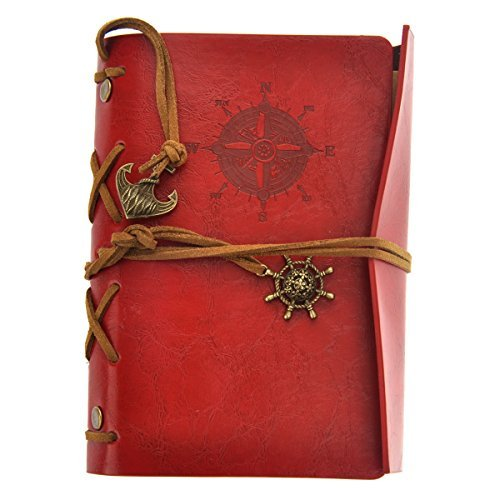 (OULII Vintage Pirate Anchor Leather Loose-Leaf String Bound Notebook Notepad Journal Diary)
