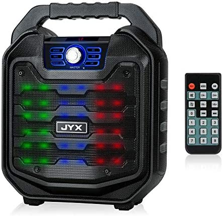 JYX Wireless Portable Bluetooth Speaker Karaoke Machine with Sound Activated Lights and Remote, Support MIC Input, FM Radio, REC, SD Card, Perfect for Party and Christmas