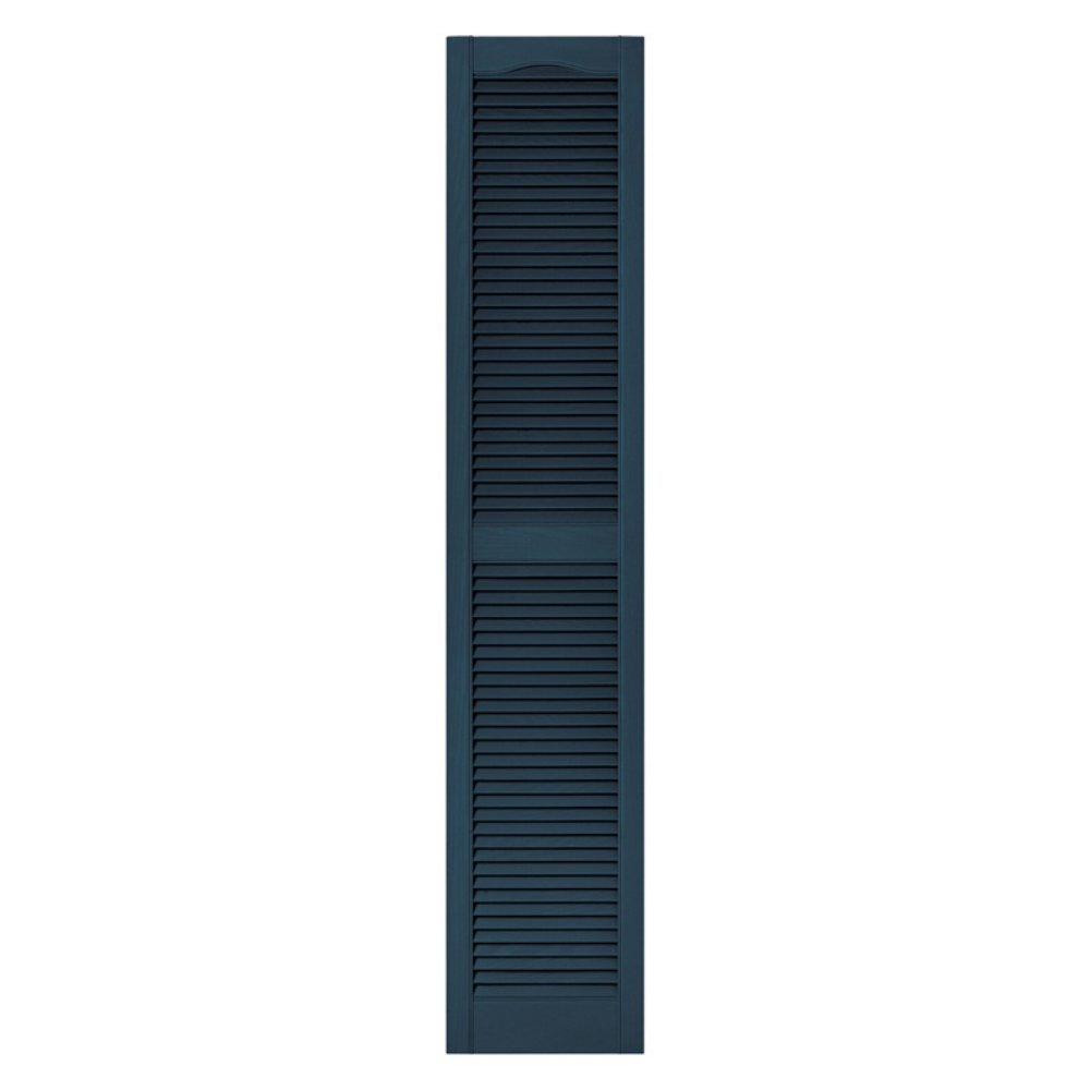 Builders Edge 12 in. x 64 in. Louvered Vinyl Exterior Shutters Pair #036 Classic Blue